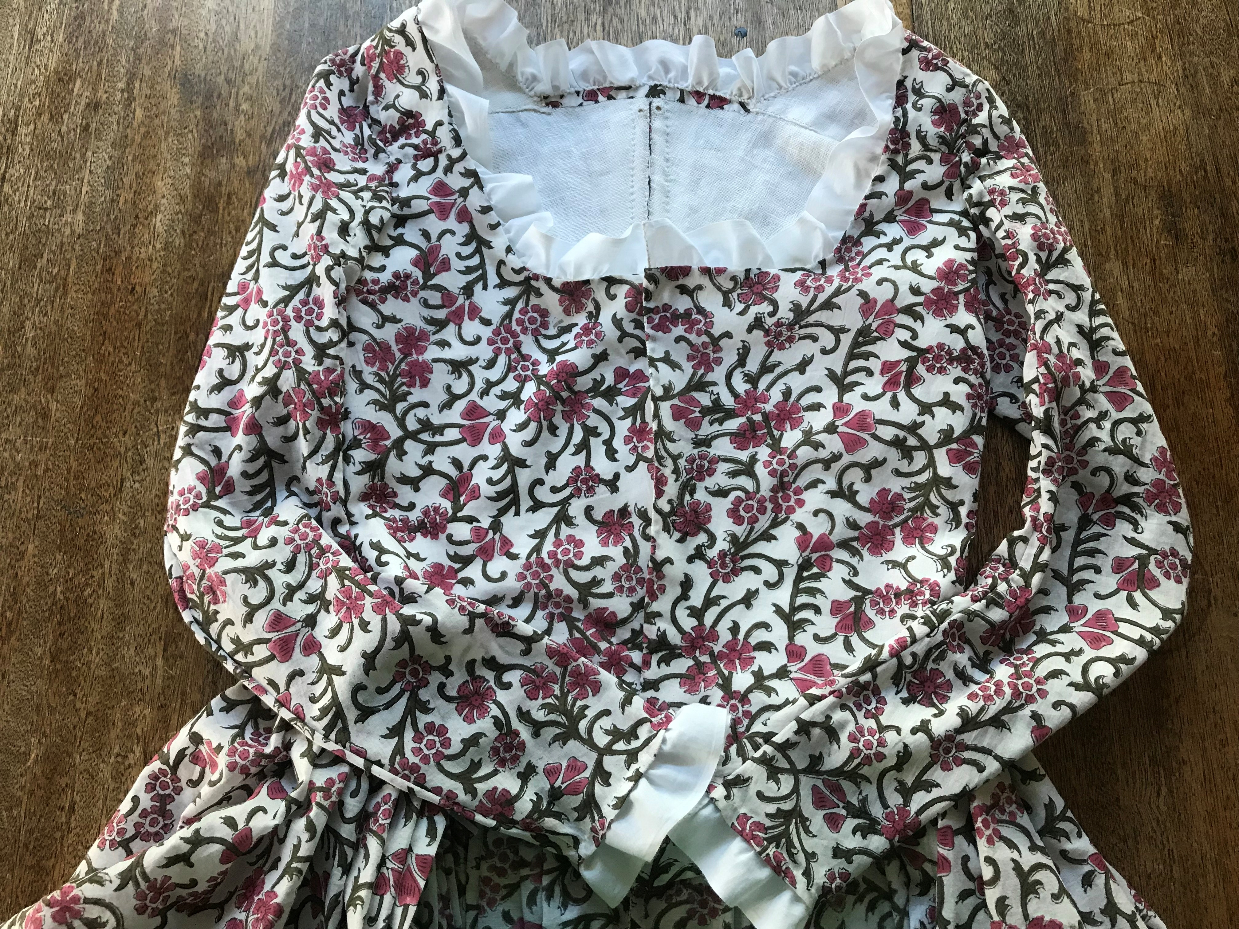 """A Floral 18th Century """"Italian Gown"""" – The Skirts and the Trim"""